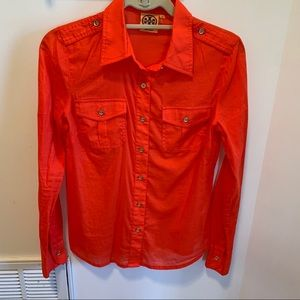 Tory Burch button front red top